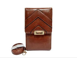 Гаманець - клатч, з якісною еко-шкіри в коричневому кольорі від YaMei / 5502-3 / 10*17.5*4