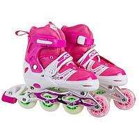 Роликовые коньки World Sport размер 31-34 розовые SKL11-289694