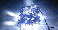 Линзовая LED гирлянда 200 диодов СИНЯЯ чёрный провод .