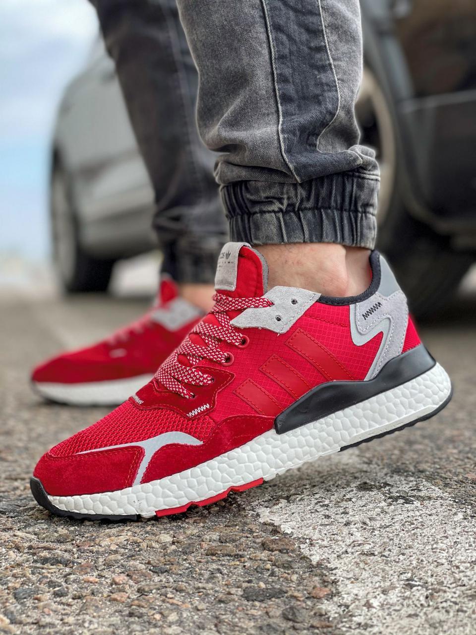 Кроссовки мужские 17297, Adidas Nite Jogger Boost 3M красны, [ 41 42 43 44 45 ] р. 41-25,2см.