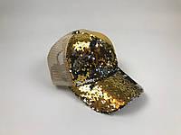 Кепка Бейсболка Жіноча City-A з Паєтками Бежево-Золота, фото 1