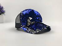Кепка Бейсболка Жіноча City-A з Паєтками Синьо-Срібна, фото 1