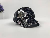 Кепка Бейсболка Жіноча City-A з Паєтками Чорна-Срібна, фото 1