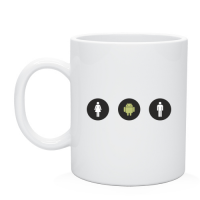 Чаша с рисунком Android + м + ж, заказать деколь на чашках и кружках