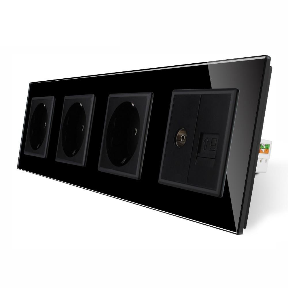 Розетка чотиримісна комбінована Силова Інтернет ТБ Livolo чорний скло (VL-C7C3EU1C1V-12)