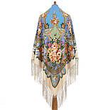 Пори року. Весна. 706-2, павлопосадский хустку (шаль) з ущільненої вовни з шовковою бахромою в'язаній, фото 3