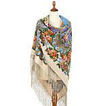 Пори року. Весна. 706-2, павлопосадский хустку (шаль) з ущільненої вовни з шовковою бахромою в'язаній, фото 4