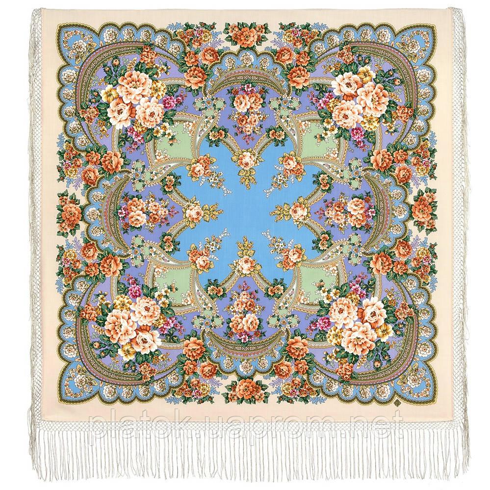 Пори року. Весна. 706-2, павлопосадский хустку (шаль) з ущільненої вовни з шовковою бахромою в'язаній