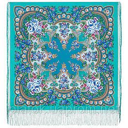 Времена года. Весна. 706-11, павлопосадский платок (шаль) из уплотненной шерсти с шелковой вязаной бахромой