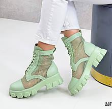 Женские ботинки ЛЕТО- ВЕСНА зеленые - оливковые летние эко кожа+ сетка