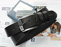 Кожаный ремень для джинсов мужской черный