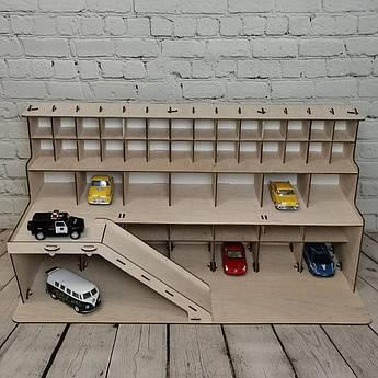 Детский гараж из дерева, комбинированный 70х30х35 см