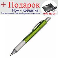 Кулькова ручка Genkky викруткою, стилусом, лінійкою і рівнем Чорне чорнило Зелений