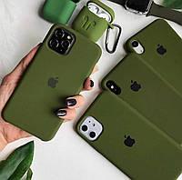 Чехол на iPhone Xs (Оливковый)накладка бампер силиконовый silicon case с черным яблоком