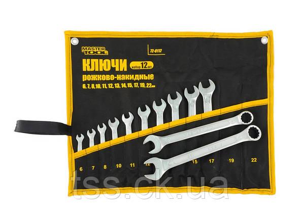 Ключі рожково-накидні набір 12 шт (6,7,8,10 - 15,17,19,22) PROF DIN3113 довічна гарантія MASTERTOOL, фото 2