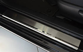 Toyota Camry 2018↗ гг. Накладки на пороги Натанико (4 шт, нерж.) Premium - лента 3М, 0.8мм