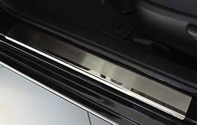 Toyota Camry 2018↗ гг. Накладки на пороги Натанико (4 шт, нерж.) Стандарт - лента Lohmann, 0.5мм