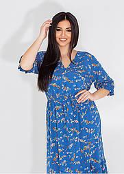 Цветочное платье в больших размерах с коротким рукавом и поясом (р. 50-60) 11549