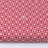 Клапоть тканини з біло-червоними сердечками в квадратиках, №3358а, розмір 48*80 см, фото 2