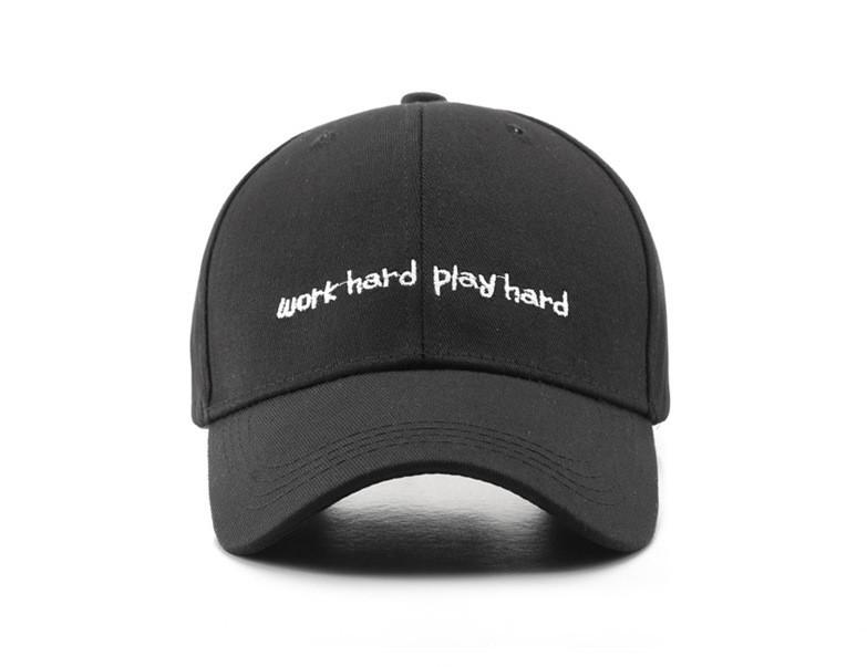 Кепка Бейсболка Чоловіча Жіноча City-A з написом Work Hard Play Hard Чорна