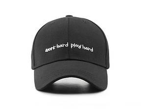 Кепка Бейсболка Чоловіча Жіноча City-A з написом Work Hard Play Hard Чорна, фото 2
