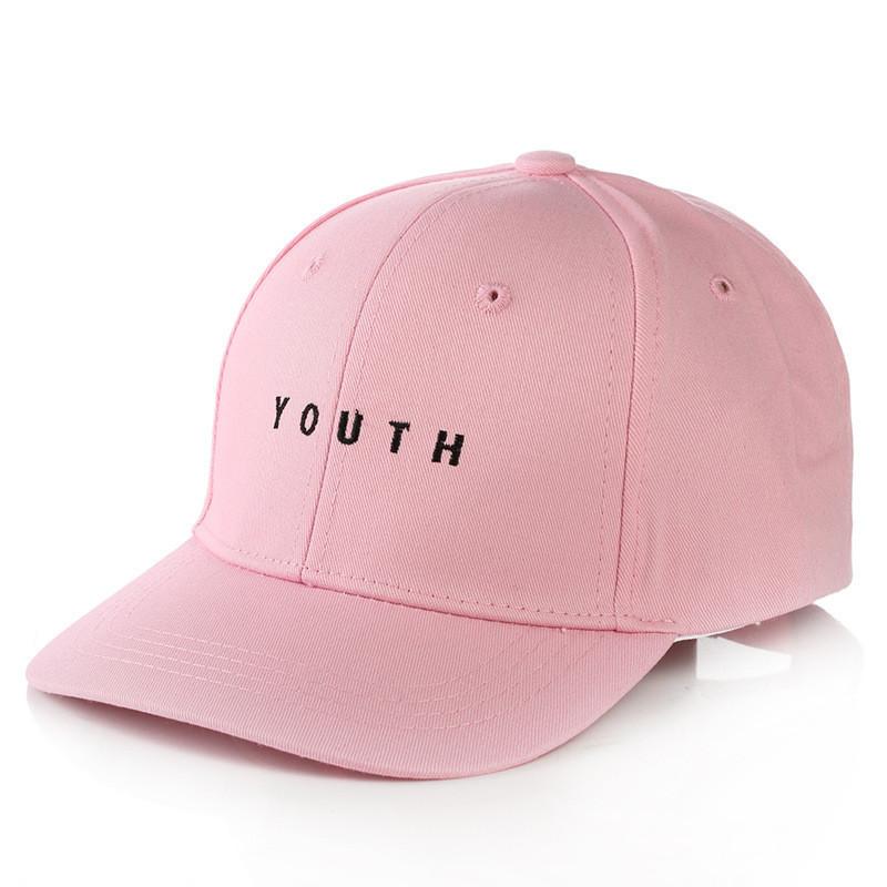 Кепка Бейсболка Мужская Женская City-A с надписью Youth с металлической застежкой Розовая