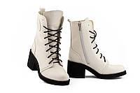 Женские ботинки кожаные весна/осень белые U Spirit 5022-Л