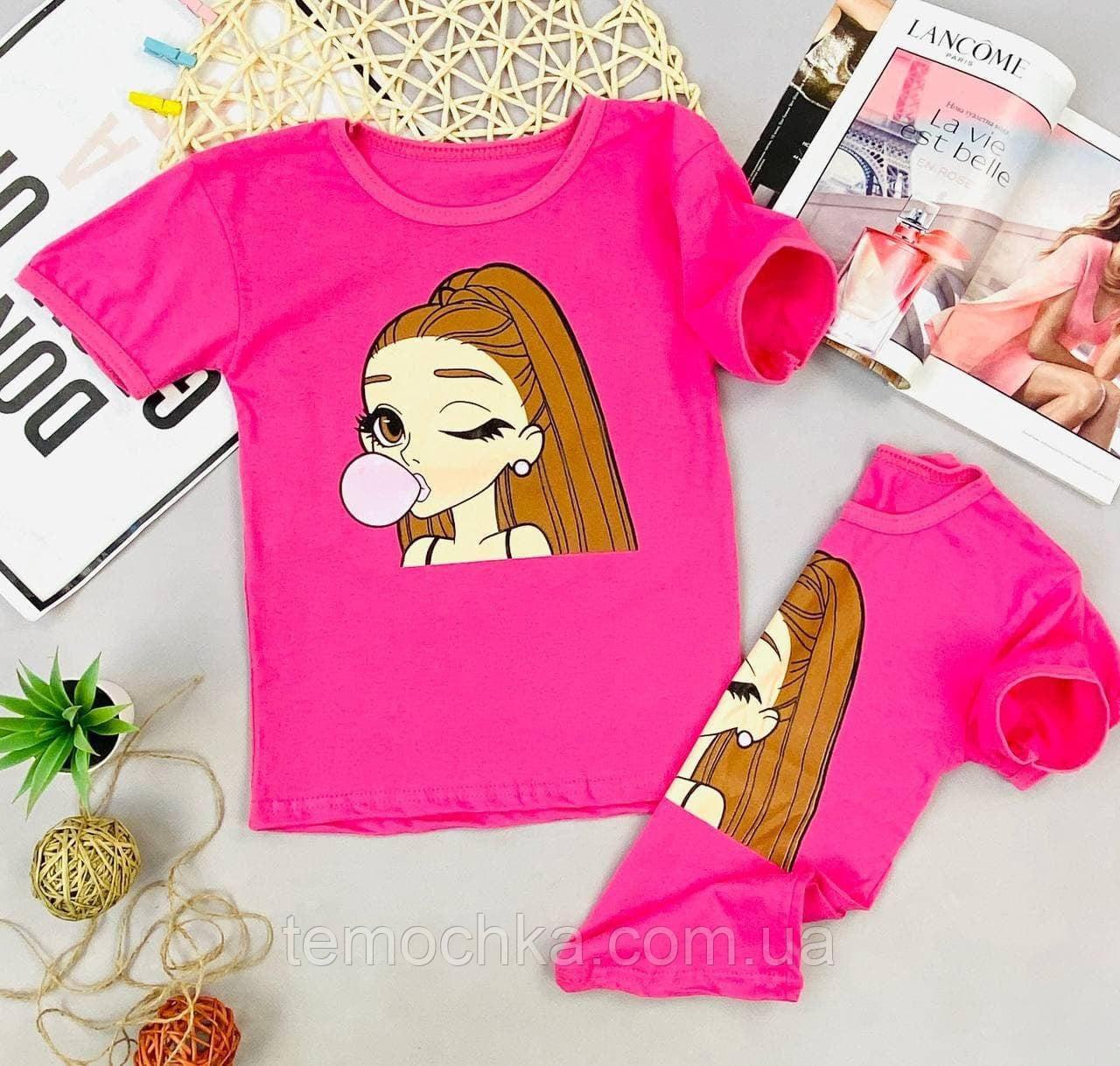 Стильна дитяча футболка рожева жовта біла для дівчинки