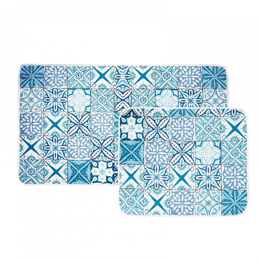 Набір килимків Karaca Home - Blue patch блакитний 60*100+50*60