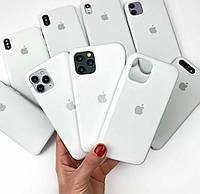 Чехол на Iphone XR(Белый)Silicone case накладка бампер белоснежный силиконовый с подкладкой внутри