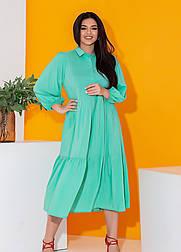 Длинное платье рубашка в больших размерах с оборкой и рукавом 7/8 летнее (р. 50-60) 11550