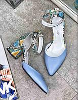 Босоножки женские Avk 2021 кожаные голубые на каблуке 6 см