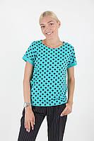 Бирюзовая модная футболка в горох в размерах 44-52