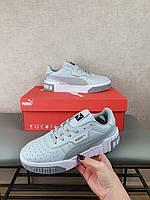Женские кросы серо-белые Puma Cali Grey White для улицы. Серые кроссовки Пума Кали повседневные для девушек