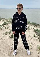 Спортивный костюм для мальчиков с худи оверсайз черный
