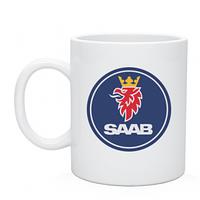 Чашка керамическая, белая с нанесением логотипа  Saab