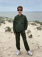 Спортивный костюм для мальчиков с худи оверсайз хаки