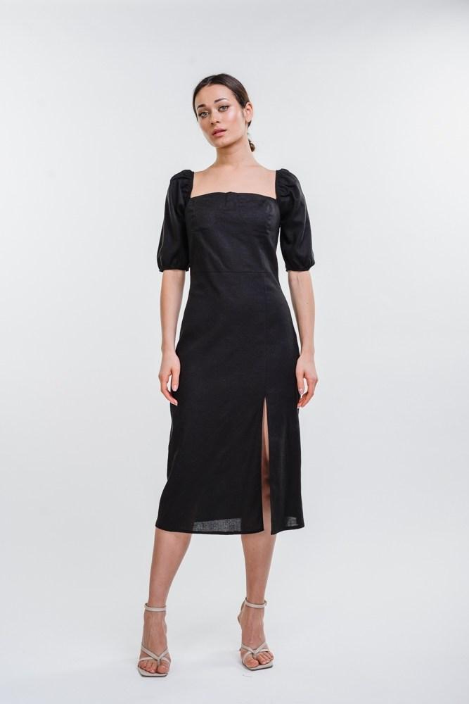 Жіноче лляне плаття довжиною міді
