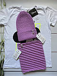 Демисезонный детский вязаный набор шапочка и снуд для девочки ручной работы., фото 5