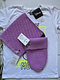 Демисезонный детский вязаный набор шапочка и снуд для девочки ручной работы., фото 6