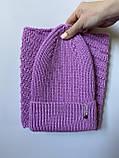 Демисезонный детский вязаный набор шапочка и снуд для девочки ручной работы., фото 2