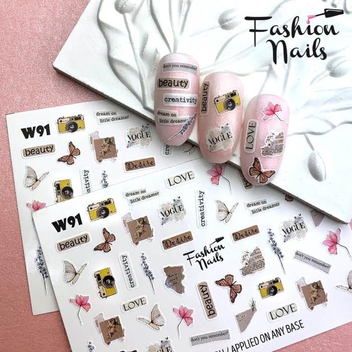 Слайдер-дизайн ЦВЕТЫ Бабочки - Наклейки на ногти надписи LOVE Водные наклейки для ногтей Fashion nails W91