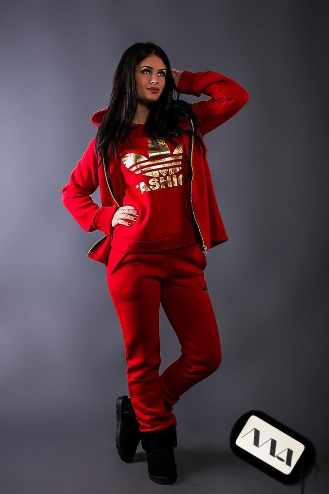 Женский утепленный спортивный костюм тройка