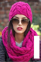 Шикарный вязанный набор Шапка+шарф-хомут
