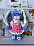 Мягкая вязаная плюшевая игрушка зайчик ручной работы., фото 2