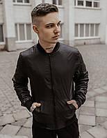 Молодежный мужской стильный демисезонный бомбер из плащевки, куртка осенняя короткая на молнии, черная