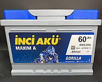 Акумулятор Inci Aku MaximA Gorilla 60Ah/R 600A+ автомобільний (Инджи Акю) LB2 060 060 013 АКБ Туреччина ПДВ