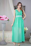 """Элегантное длинное шифоновое платье в стиле """"Ампир"""" с кристаллами"""