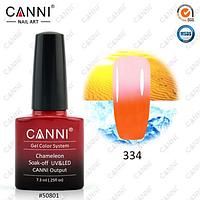 Термо гель-лак Canni №334 (оранжевый-бледный розовый) , 7,3 мл