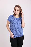 Синяя хлопковая футболка в красивый принт увеличенных размеров 48-54